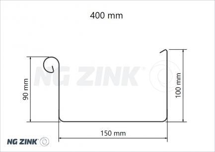 firkantede zink tagrender 250 - 333 - 400 mm.
