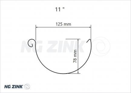zinktagrender i sort zink (halvrund)